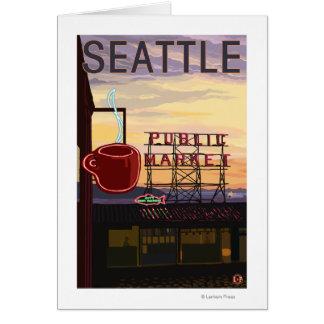 Signe du marché d'endroit de SeattlePike et vue de Carte De Vœux