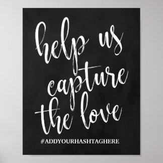 Signe du tableau 8x10 de Hashtag de mariage