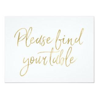 """""""Signe élégant d'or veuillez trouver votre table"""" Carton D'invitation 16,51 Cm X 22,22 Cm"""