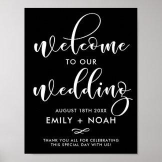 Signe élégant noir et blanc de mariage d'accueil posters