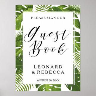 Signe élégant tropical de mariage de Guestbook de Poster