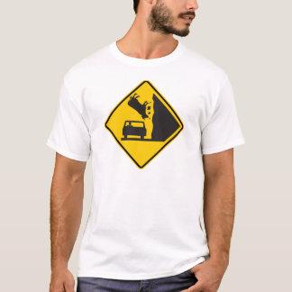 Signe en baisse de route de zone de vache t-shirt