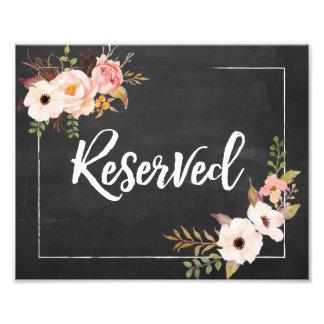 Signe floral rustique réservé de mariage de impression photo