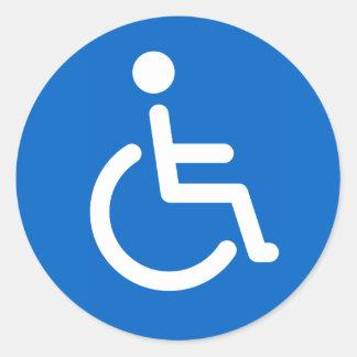 Signe handicapé ou bleu handicapé et blanc de adhésifs ronds