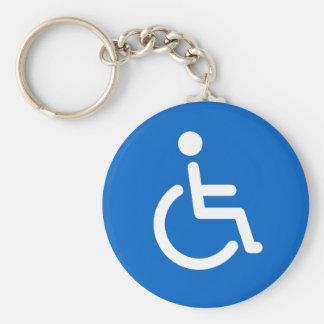 Signe handicapé ou bleu handicapé et blanc de porte-clés