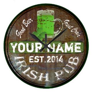 Signe irlandais personnalisé de pub grande horloge ronde