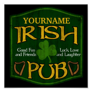 Signe irlandais personnalisé de Pub Posters