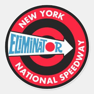 Signe national de cru de speed-way de New York Sticker Rond
