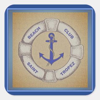 Signe nautique de Tropez de saint de club de plage Sticker Carré