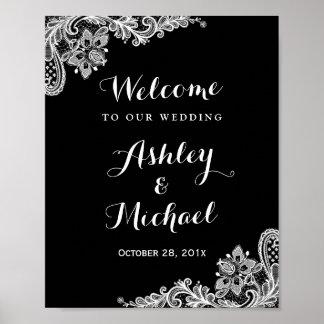 Signe noir et blanc de réception de mariage de posters