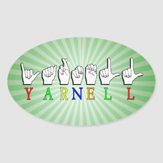 SIGNE NOMMÉ DE YARNELL ASL FINGERSPELLED STICKER OVALE