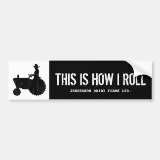 Signe personnalisé drôle d'agriculteur de tracteur autocollant de voiture