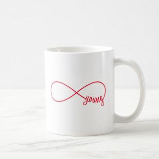 signe pour toujours jeune et rouge d'infini mug