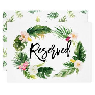 Signe réservé de guirlande florale tropicale carton d'invitation  12,7 cm x 17,78 cm