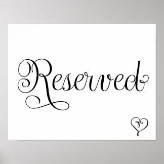 Signe réservé de mariage affiches