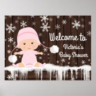 Signe rose de baby shower d'hiver de flocon de poster