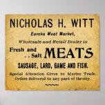 Signe vintage de boucherie de marché de la viande posters