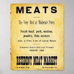 Signe vintage de publicité de boucherie affiches