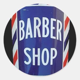 Signe vintage de raseur-coiffeur autocollant rond