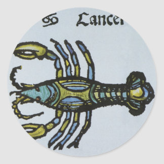 Signe vintage du zodiaque, Cancer le crabe Sticker Rond