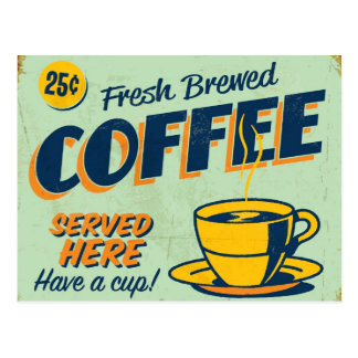 Signe vintage en métal - café préparé frais carte postale