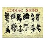 Signes (astrologiques) de zodiaque carte postale