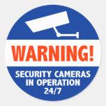 Signes d'avertissement de caméra de sécurité adhésif rond
