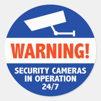 Signes d'avertissement de caméra de sécurité sticker rond