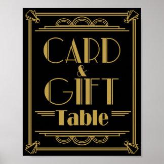 Signes de mariage de table de carte et de cadeau affiches
