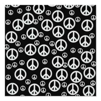 Signes de paix noirs et blancs carton d'invitation  13,33 cm
