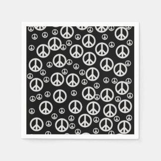 Signes de paix noirs et blancs serviette jetable