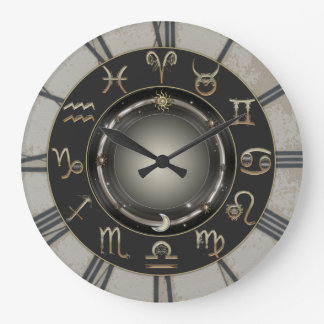 Signes de zodiaque grande horloge ronde