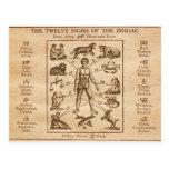 Signes du cru 12 du zodiaque cartes postales