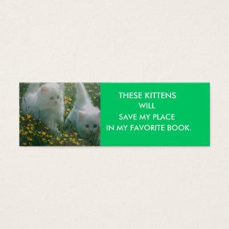 Signet blanc de chatons mini carte de visite
