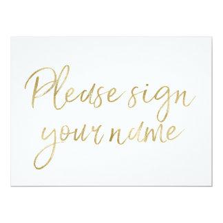 """""""Signez svp votre"""" signe élégant nommé d'or Carton D'invitation 16,51 Cm X 22,22 Cm"""