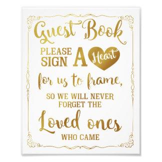 signez un or de signe de mariage de livre d'invité photo