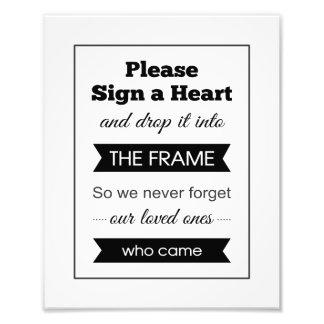 Signez un signe de livre d'invité de mariage de  tirage photo