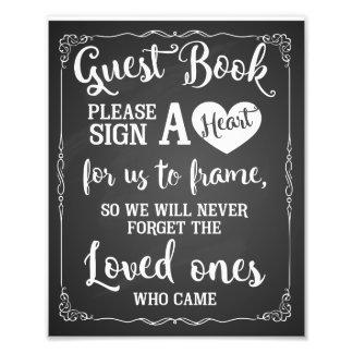 signez un signe de mariage de livre d'invité de photographe