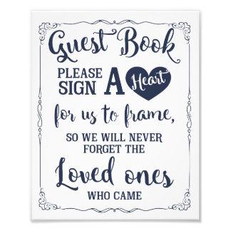 signez un signe de mariage de livre d'invité de tirage photo