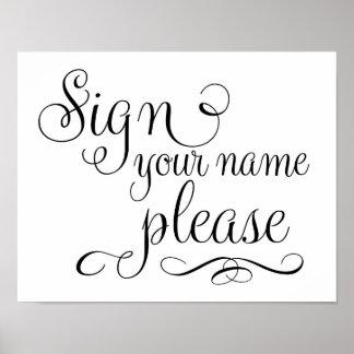 Signez votre signe de mariage de livre d'invité de posters