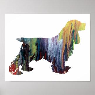Silhouette abstraite colorée de cocker posters