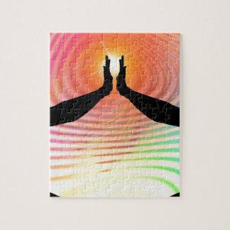Silhouette - arrière - plan coloré transcendantal puzzle