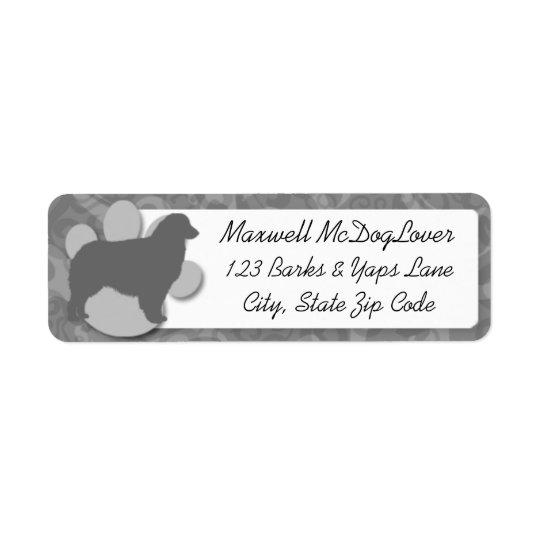 Silhouette australienne de berger étiquette d'adresse retour