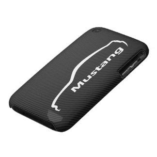 Silhouette blanche de coupé du GT de mustang avec  Étuis iPhone 3
