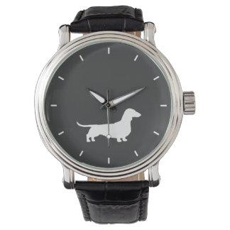 Silhouette blanche de teckel montres bracelet