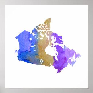 Silhouette colorée du Canada Poster