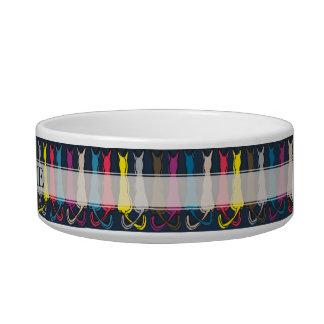 Silhouette colorée nommée personnalisée de chats écuelle