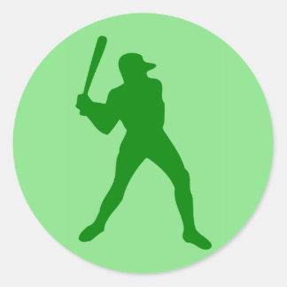 silhouette de base-ball autocollant rond