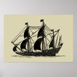 Silhouette de bateau avec les voiles se poster