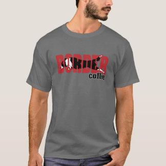 Silhouette de border collie, sautant t-shirt